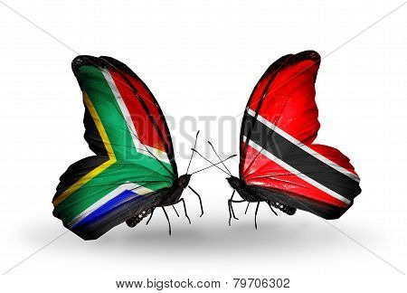 Two Butterflies With Flags On Wings As Symbol Of Relations South Africa And Trinidad And Tobago