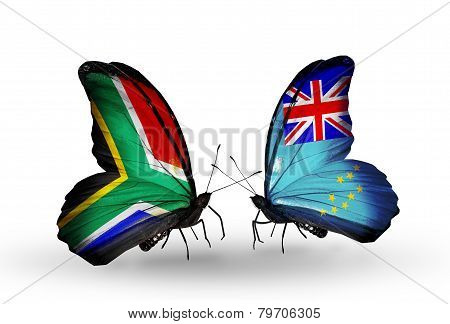 Two Butterflies With Flags On Wings As Symbol Of Relations South Africa And Tuvalu