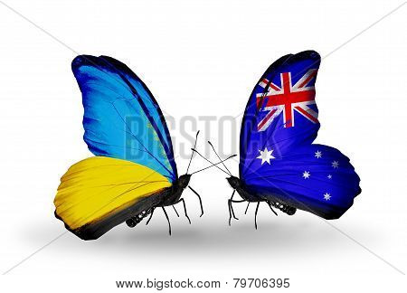 Two Butterflies With Flags On Wings As Symbol Of Relations Ukraine And Australia