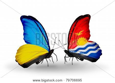 Two Butterflies With Flags On Wings As Symbol Of Relations Ukraine And Kiribati