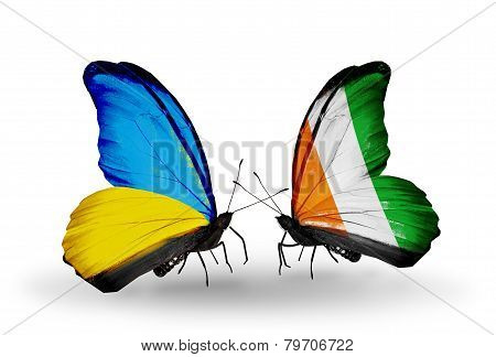 Two Butterflies With Flags On Wings As Symbol Of Relations Ukraine And Cote Divoire