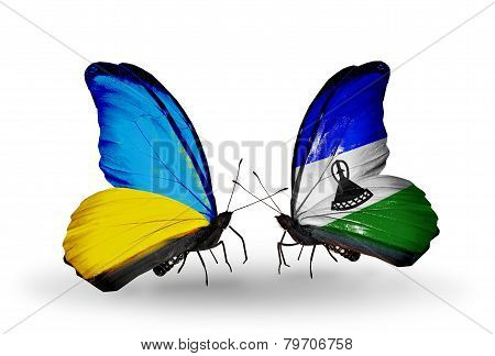 Two Butterflies With Flags On Wings As Symbol Of Relations Ukraine And Lesotho