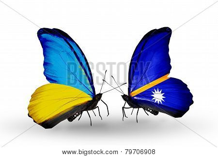 Two Butterflies With Flags On Wings As Symbol Of Relations Ukraine And Nauru