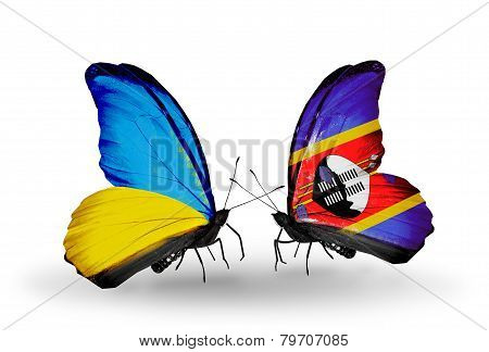 Two Butterflies With Flags On Wings As Symbol Of Relations Ukraine And Swaziland