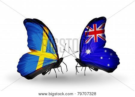 Two Butterflies With Flags On Wings As Symbol Of Relations Sweden And Australia