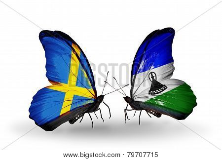 Two Butterflies With Flags On Wings As Symbol Of Relations Sweden And Lesotho