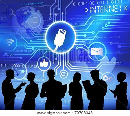 Technology and internet themed background with silhouettes of business people vector
