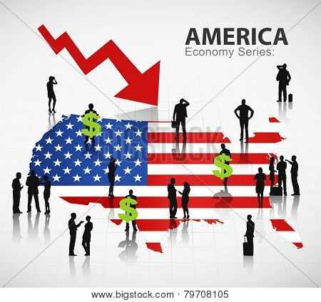 American flag with it's currency and a group of business people vector