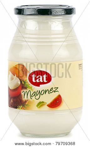 Ankara, Turkey - October 28, 2014: Tat mayonnaise in bottle jar isolated on white background.