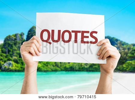 Quotes card with a beach on background