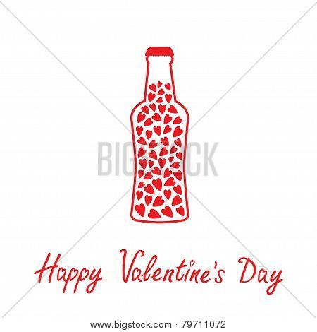 Beer Bottle With Hearts Inside. Happy Valentines Day Card.