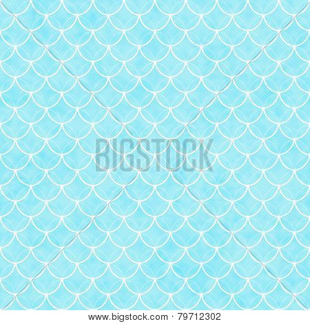 Teal And White Shells With Interlocking Circles Tiles Pattern Repeat Background