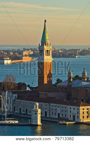 Sunset in Venice, telephoto view of San Giorgio Maggiore church