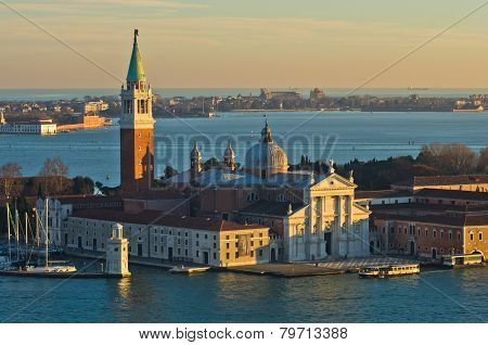 Telephoto aerial view of Venice from Campanila, piazza San Marco