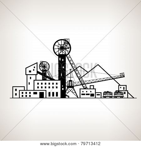 Silhouette coal mine with spoil tip and with rail cars, vector illustration