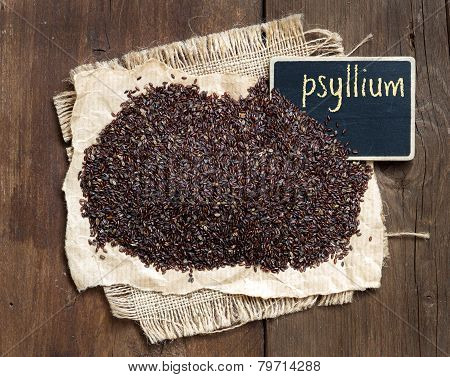 Psyllium Seeds With A Small Chalkboard