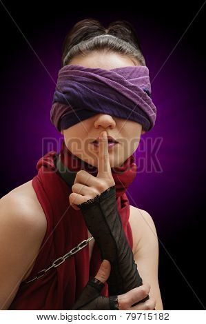 Blindfolded Girl Finger Over Lips Violet Background