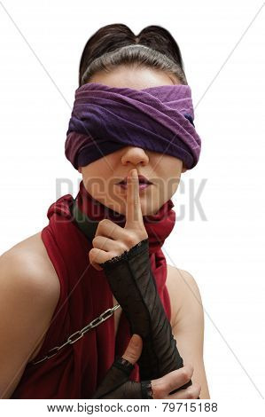 Blindfolded Girl Finger Over Lips White Background