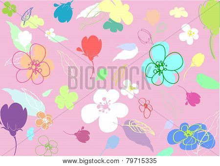 Multi-colored Flowers In The Thumbnail Style Varying Degrees Of Elaboration