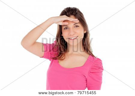 Casual young girl looking something isolated on a white background
