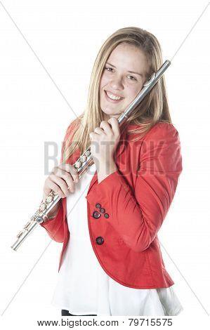 Teenage Holds Flute In Studio