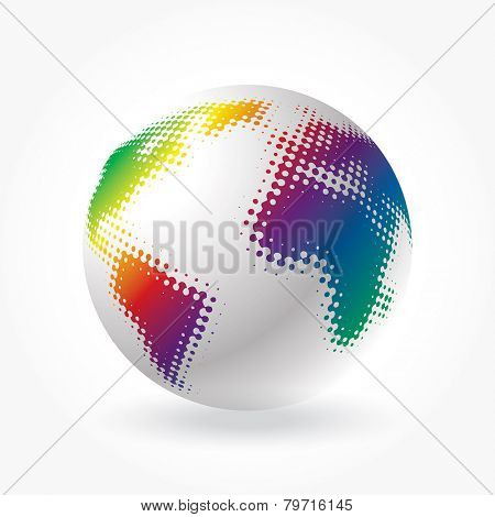 vector globe icon with dots in rainbow colors