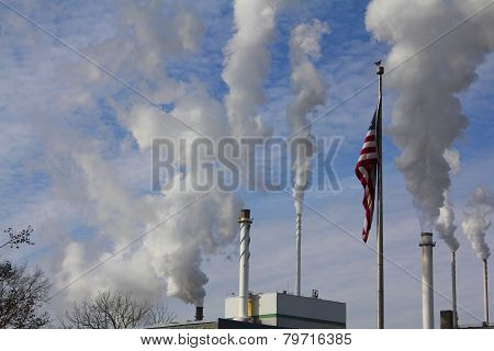 American Flag and Smokestacks