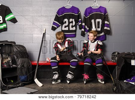 Hockey Arena Boys In Rink Dressing Room