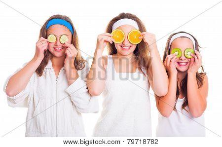 Primping Girls Having Fun With Fruit Slices