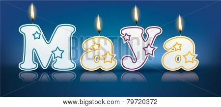 MAYA written with burning candles - vector illustration