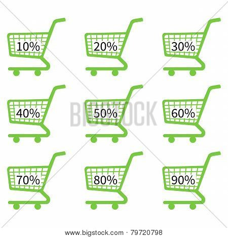 Green Shopping Cart Icons With Discount Tags