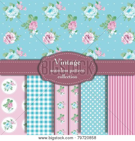 Vintage Seamless Pattern Collection Vector illustration