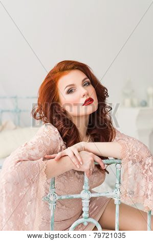 Romantic red-haired woman
