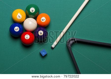 Seven Billiard Balls Arranged In The Shape Of A Flower; Triangle; Chalk; Cue Game;