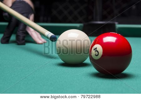 Billiard Balls In A Pool Table. Focus On The White Ball
