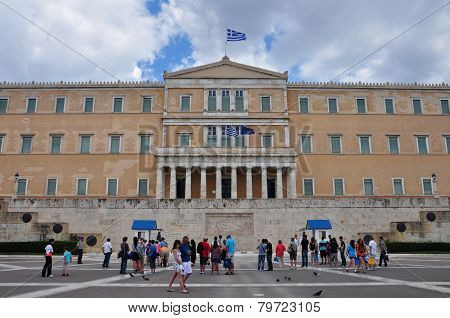 People Visiting The Greek Parliament