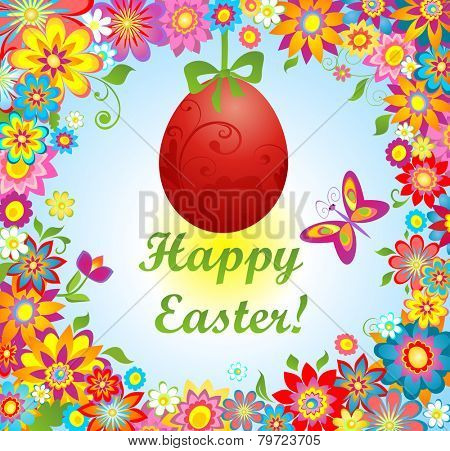 Easter greeting with colorful flowers and hanging egg
