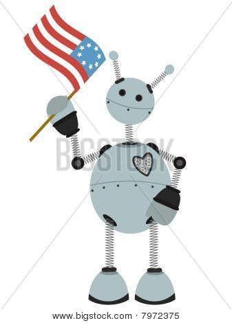 4th of July Flag holding springy round robot