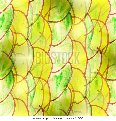 Mural green semi-circles on a yellow background backg