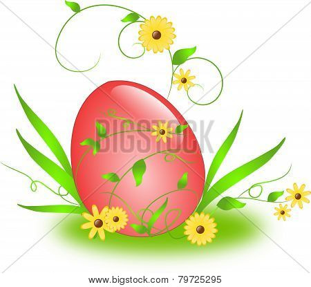 Easter Egg With Floral Ornaments