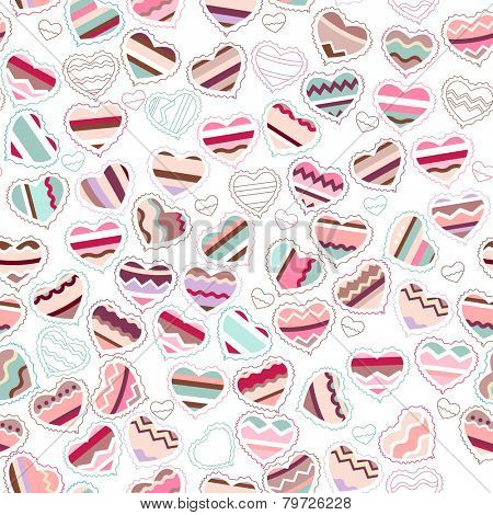 Seamless pattern made of different contour hearts