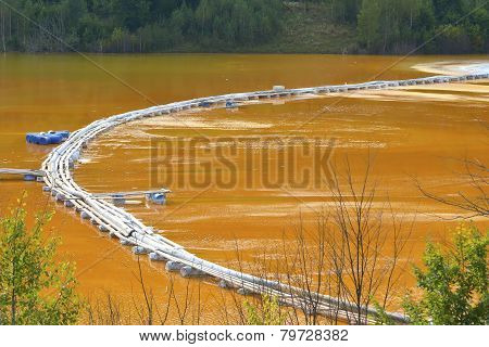 Red Lake Polluted With Dead Trees And A Flooded Church In Romania, Geamana