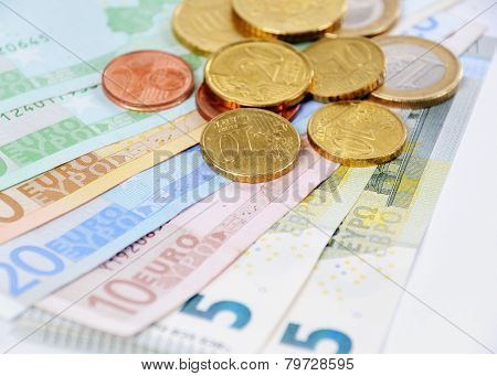 Euro Bill And Coins With With White Background