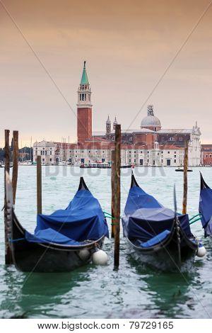 Gondolas In Front Of Chiesa Di San Giorgio Maggiore
