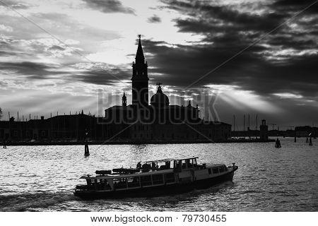 San Giorgio Maggiore In Venice At Sunset B&w