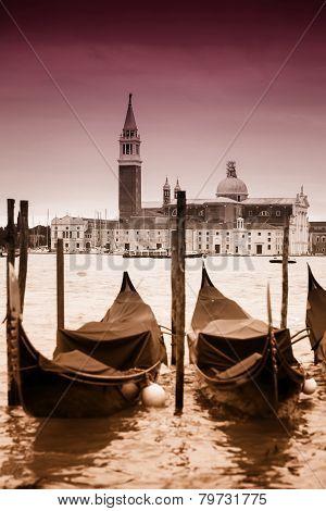 View Of Gondolas In Front Of San Giorgio Maggiore
