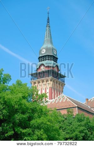 clock tower City Hall symbol of Subotica, Serbia