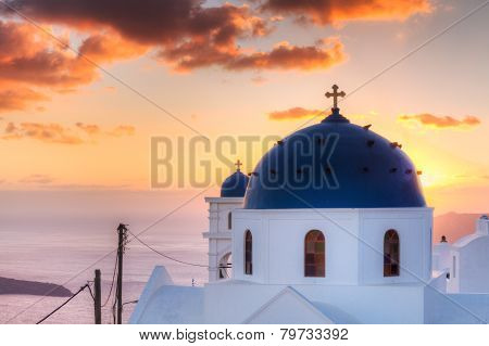 Church Of Imerovigli At Sunset