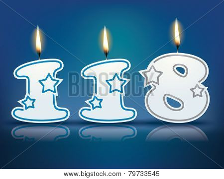 Birthday candle number 118 with flame - eps 10 vector illustration