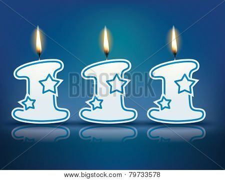 Birthday candle number 111 with flame - eps 10 vector illustration